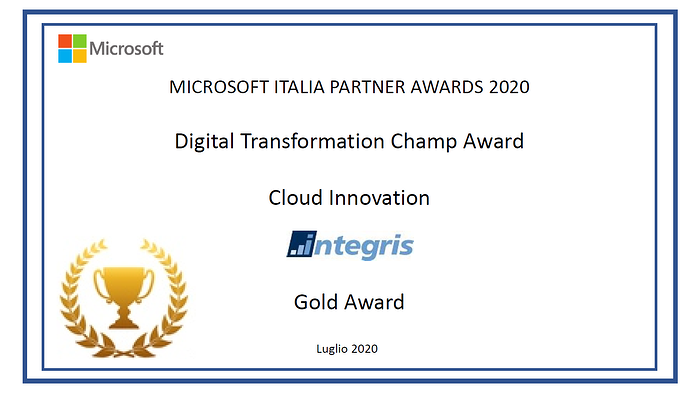 MICROSOFT INSPIRE 2020: INTEGRIS premiata con il Digital Transformation Champ GOLD Award 2020 per la Cloud Innovation